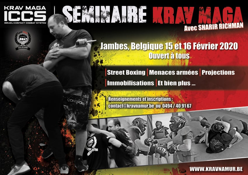 Affiche stage KM fev2020 - Stage Krav Maga ICCS - Namur - Belgique - Février 2020